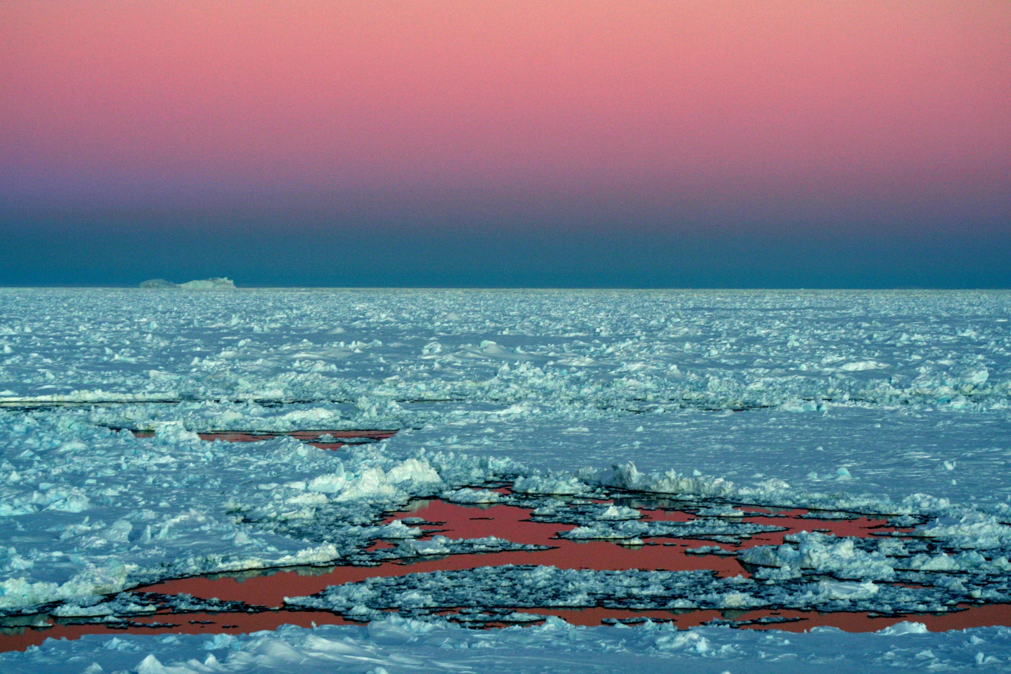 Photo BANQUISE : Lumière crépusculaire en mer de Weddell (Antarctique). Tel un lac de lave solidifiée flottant sur un magma liquide, la banquise se disloque, se fissure et se fragmente, laissant l'océan s'infiltrer dans les moindres ouvertures.